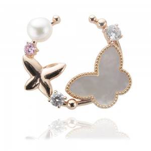 7-7.5mm Akoya Pearl 18KW Gold Plated Spring Collection Brooch