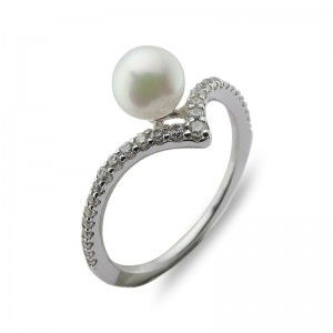 5.5-6 mm Akoya Pearl 18KW Gold Plated Tiara Collection Ring