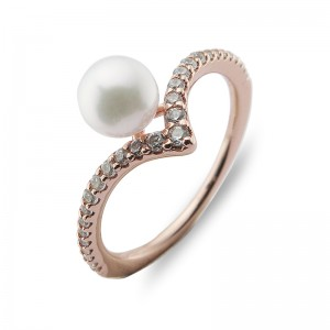 5.5-6 mm Akoya Pearl 18KR Gold Plated Tiara Collection Ring
