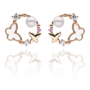 4.5-5mm Akoya Pearl 18KR Gold Plated Spring Collection Earrings