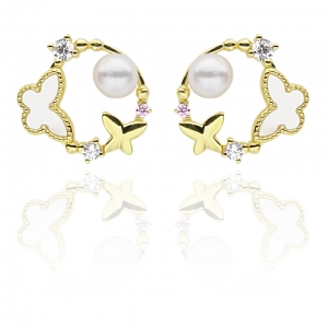 4.5-5mm Akoya Pearl 18KG Gold Plated Spring Collection Earrings