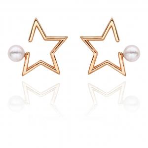 4.5-5mm Akoya Pearl 18KR Gold Plated Starry Star Stud Earrings
