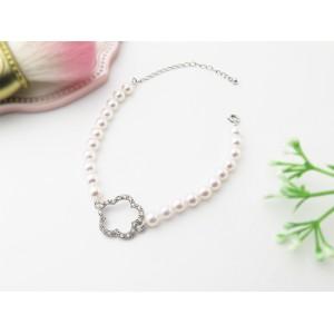 5.5-6mm Akoya Pearl Sterling Silver Flower Charm Bracelet