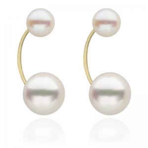 5.5-8mm Akoya Two Pearls 18KG Earrings
