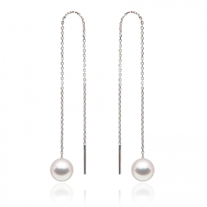 7-7.5mm Akoya Pearl 18KW Dangle Earrings