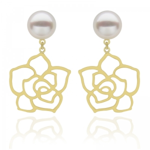 6.5-7mm Akoya Pearl 18KW Rose Dangle Earrings