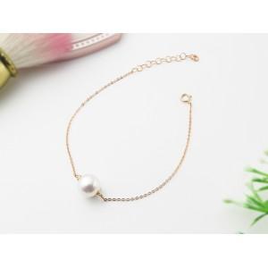 9-9.5mm Single Akoya Pearl 18KW Bracelet