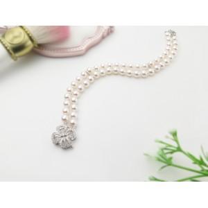 5.5-6mm Akoya Pearl Double Strand Bracelet With 18KG Flower Diamond Clasp