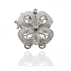 18KW Flower Clasp With Diamond