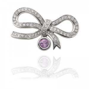 18KW Ribbon Clasp With Diamond And Pink Sapphire