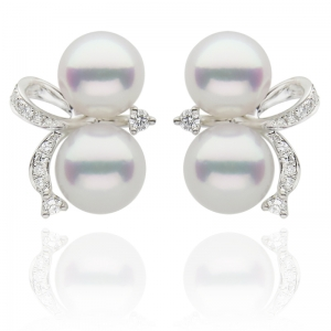 6-6.5mm Akoya Pearls 18KW Ribbon Stud Earrings With Diamonds