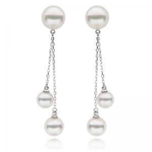6-8.5mm Akoya Pearl 18KW Dangle Earrings