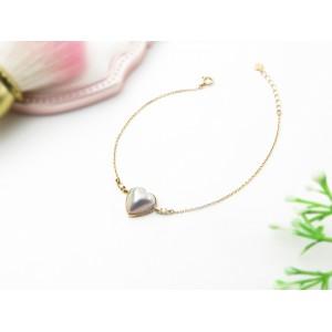 10mm Heart Shape Mabe 18KG Bracelet