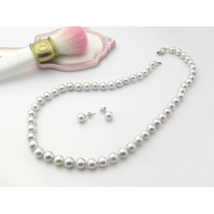 7.5-8mm Aurora Madara Strand Necklace With Stud Earrings S598286