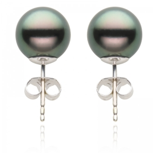 9-10mm Black Tahitian Pearl 18KW Stud Earrings