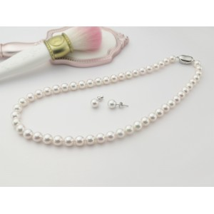 7.5-8mm Aurora Ten-Nyo Strand Necklace With Stud Earrings P50056