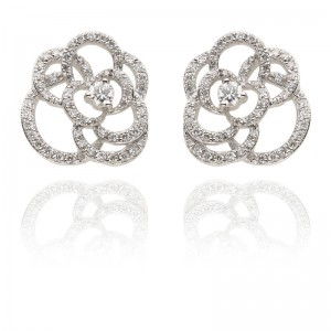 Blossom Rose 18KW Earrings With Diamond