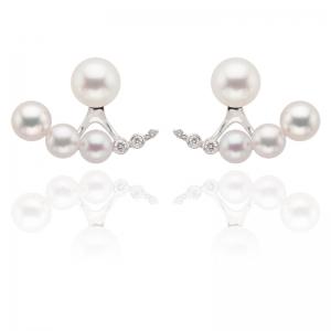 4.5-7mm Akoya Pearl 18KW Earrings With Diamond