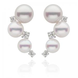 5-6.5mm Akoya Pearls 18KW Stud Earrings With Diamond