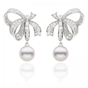 8-8.5mm Akoya Pearl 18KW Ribbon Earrings With Diamond