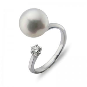 9-9.5mm Akoya Pearl 18KW Diamond Ring