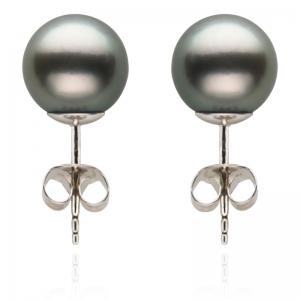 11-12mm Grey Tahitian Pearls 18KW Stud Earrings