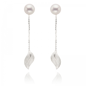 8.5-9mm Akoya Pearl 18KW Leaf Dangle Earring With Diamond
