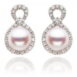 6-6.5mm Akoya Pearl 18KW Earrings With Dimaond