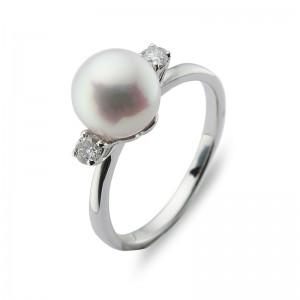 7.5-8mm Akoya Pearl 18KW Diamond Ring