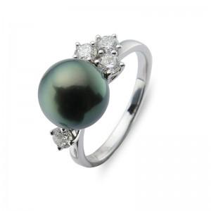 9-10mm Black Tahitian Pearl 18KW Diamond Ring