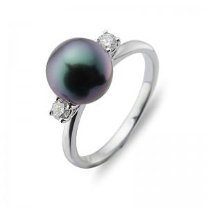 8-9mm Black Tahitian Pearl 18KW Diamond Ring