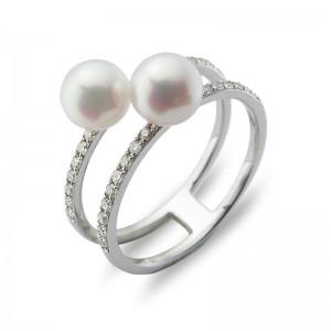 5.5-6mm Akoya Pearl 18KW Diamond Ring