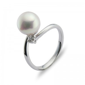 8.5-9mm Akoya Pearl 18KW Diamond Ring