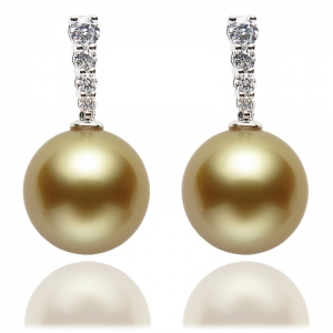 10-11mm White South Sea Pearl 18KW Earrings