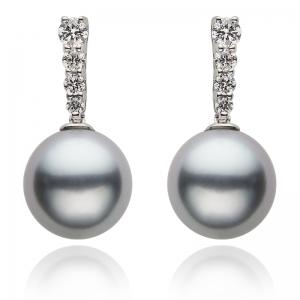 10-11mm Grey Tahitian Pearl 18KW Earrings