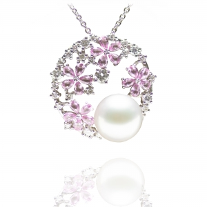 10-11mm White South Sea Pearl 18KW Pendant With Diamond And Pink Sapphire