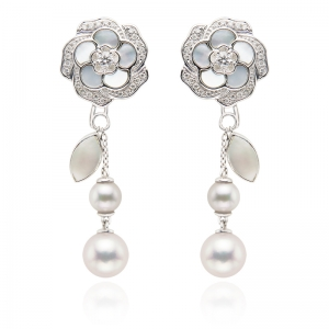 5-7mm Akoya Pearl And Mother Of Pearl 18KW Rose Dangle Earrings With Diamond