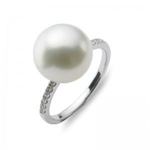 10-11 mm White South Sea Pearl 18KW Diamond Ring
