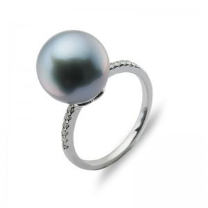 10-11mm Grey Tahitian Pearl 18KW Diamond Ring