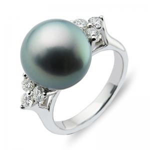 11-12mm Grey Tahitian Pearl 18KW Diamond Ring