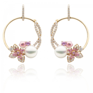 6.5-7mm Akoya Pearl 18KR Earring With Diamond And Pink Sapphire