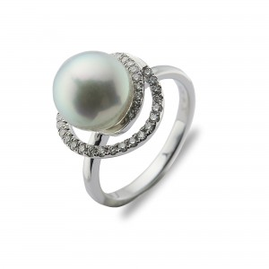 8.5-9mm  Blue Akoya Pearl 18KW Double Halo Ring