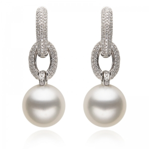 11-12mm White South Sea Pearl 18KW Dangle Earrings With Diamond
