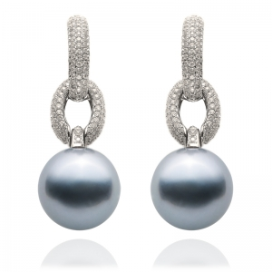 11-12mm Grey Tahitian Pearl 18KW Dangle Earrings With Diamond
