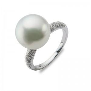 11-12 mm White South Sea Pearl 18KW Diamond Ring