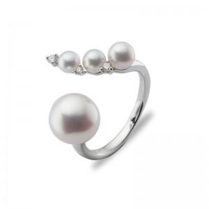 3.5-8.5mm Akoya Pearl 18KW Diamond Ring