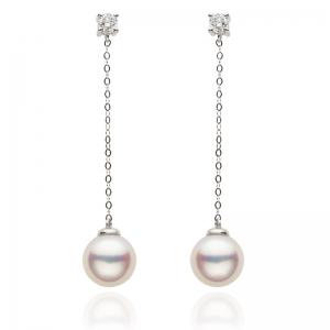 7-7.5mm Akoya Pearl 18KW Dangle Earrings With Diamond