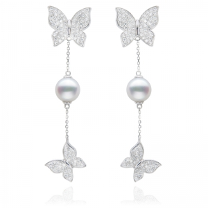 7-7.5mm Akoya Pearl 18KW Butterfly Dangle Earrings With Diamond