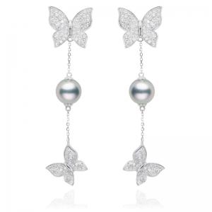 7-7.5mm  Blue Akoya Pearl 18KW Butterfly Dangle Earrings With Diamond