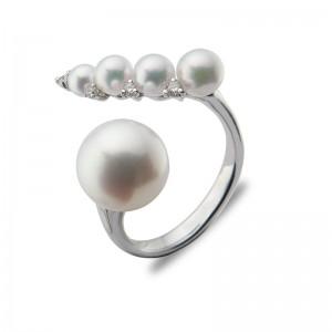 3.5-9mm Akoya Pearl 18KW Diamond Ring